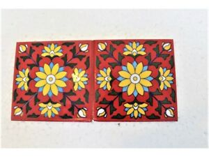 """Red & Yellow Ceramic Tile 4"""" x 4"""", 2 Pieces Sample Indian Home Furnishing Tiles"""
