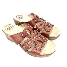 Women's Dansko Light Brown Leather Flower Clog Sandals Size 40