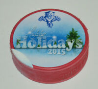 FLORIDA PANTHERS Happy Holidays 2015 RED COLORED NHL PUCK Print Error Flaw
