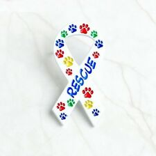 "Colorful CAT DOG PAW RESCUE RIBBON 1-5/8"" Metal Vest Lapel Hat Pin (#P121)"