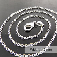 Necklace Pendant Chain Real 925 Sterling Silver S/F Solid Fine Trace Link Design