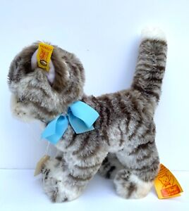 """STEIFF 10"""" PLUSH CAT SISSI # 2726/22 WITH TAGS AND BOX WEST GERMANY VINTAGE"""