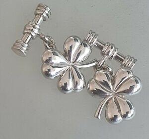 Shamrock Cuff Links Cufflinks Symbol of Ireland Eire Irish Sterlinv silver