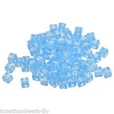 KUS 300 Blau Klar Buchstaben Acryl Spacer Perlen Beads Würfel 6mm