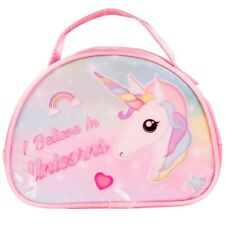 "8"" I Believe In Unicorns Handbag Toddlers Kids Girl School Nursery Lunch Bag Box"