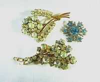 Collectable Vintage Blue & White Rhinestone Brooch X3