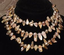 Individualy Hand Knotted Champagne Color Blister Pearl Flapper Length Necklace