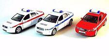AUDI A4 *3 CAR SET,POLICE CAR,RESCUE CAR,FIRE DEPT.CAR,WELLY1/38 DIECAST MODELS