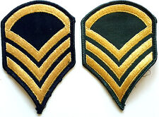 VINTAGE PAIR (2) U.S. ARMY STAFF SERGEANT GOLD CHEVRONS ON BLACK TWILL  VIET NAM