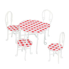 Dollhouse Miniature Wire Metal Table Chairs Outdoor Patio Garden Porch Furniture