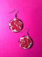 Earrings (Flower) Handmade Embroidery