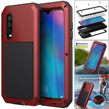 Huawei P30 Mate20 Heavy Duty Shockproof Metal Case Cover + Screen Tempered Glass