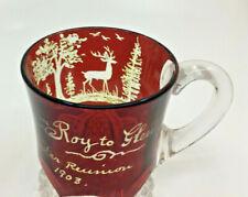 Ruby Red Flash Glass Souvenir Cup Roy to Glenna Baxter Reunion 1903 Deer FANCY