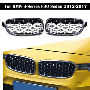 For BMW F30 F31 3 Series Kidney Grill Grille Chrome Silver Diamond 2012-2017