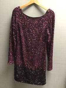 Ladies COAST Purple Sequin Party Dress UK 12