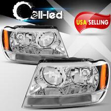 for 99-04 Jeep Grand Cherokee Headlights Headlamps Assembly Kit Corner Signal