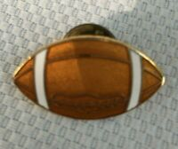 Vintage Football Shape Lapel Hat Pin Brown Gold Tone Enamel Collectible