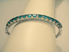 Gorgeous Sterling Silver .925 Apatite Hard Bangle Bracelet