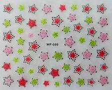 Nail art manucure stickers autocollants ongles: étoiles - rose rouge vert
