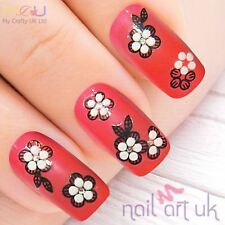 White and Black Flower and Clear Rhinestone Nail Stickers, Decals, Art 01.01.003