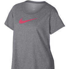 Nike Women's Plus Size graphic swoosh Shirt top 1x  gray pink