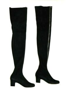CHANEL HIGH TIGHT OVER THE KNEE SOCK SUEDE BOOTS ZIP FRONT 40 / 40.5