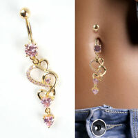 Rhinestone Body Piercing Dangle Crystal Navel Belly Button Bar Barbell Rings TR
