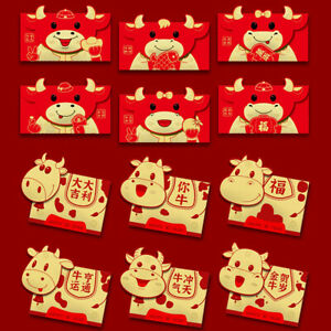 6pcs 2021 Lucky Red Envelopes Pockets Packet For Chinese New Year Party Gift Box
