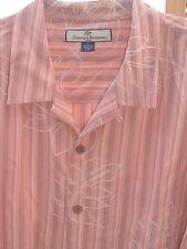 XL Tommy Bahama 100% Silk Hawaiian Aloha Shirt Striped with Raised Leaf Pattern