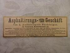 Werbung Inserat Anzeige Asphaltierungs-Geschäft Aufschläger Asphalt 1893