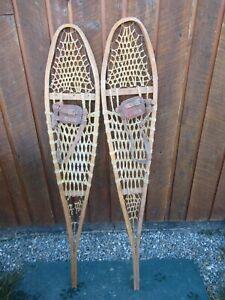 """ALASKAN VINTAGE Snowshoes 56"""" Long x 10""""   Have Leather Bindings"""