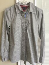 NWT Tommy Hilfiger Women's Long Sleeve Button Front White/Gray Striped Shirt M