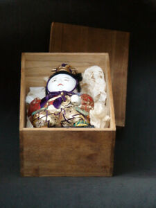 Antique Japanese Doll Kimekomi Silk Dress Doll Gofun with Box