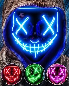 Halloween Mask Wire LED Party Mask Scary Mask Blue Red Green Cross Eyes ASSORTED