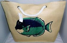 "COASTAL Tote Bag  18 1/2"" x 13 1/2""  LARGE TROPICAL FISH  Rope Handles"