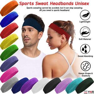 Sweatband Hairband Sports Sweat Headband Yoga Gym Stretch Unisex Head Band Mens