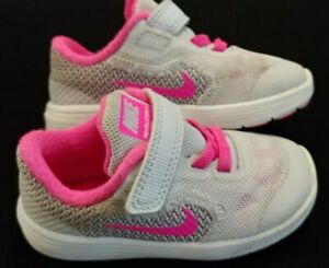 BABY GIRL: Nike Revolution 3 Shoes, Pink & Gray - Size 6C 819418-007