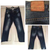 Mens FIRETRAP Dark Blue Low Rise Straight Leg Denim Jeans W32 (775)