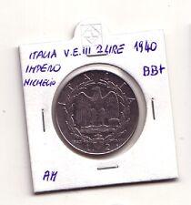 Regno d'Italia  2 lire 1940 Impero nichelio am V.Emanuele III    BB+    (m228)