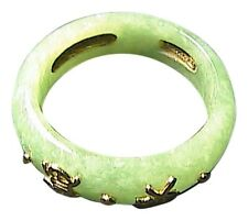 "14k Solid Yellow Gold "" Best Wishes "" Apple Green Jadeite Jade Ring"