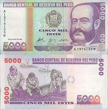 PERU 5000 INTIS 1988  UNC (rif. 189 )