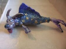 "Collectible Figure Dog head w fish body & tail. Whimsical unique 9"" mermaid dog"