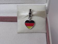 New w/Box Pandora Germany Flag Heart Enamel Dangle Charm 791545ENMX German