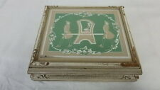 ANTIQUE REVERSE GLASS  SILHOUETTE VANITY JEWELRY DRESSER BOX GILDED ART DECO
