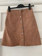 Topshop 100% Leather Suede Mini Skirt With Pockets  Size 8