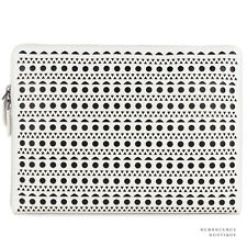 Alaia White Black Perforated Leather Pochette / Clutch / Document Holder