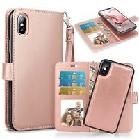 Luxury Gold Genuine Leather Flip Case Wallet Cover For Apple iPhone X 8 7 Plus