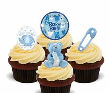 Baby Shower Boy, Blue Edible Cupcake Toppers, Pre-cut Fairy Cake Bun Decorations