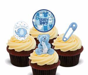 Baby Shower Boy, Blue Edible Cupcake Toppers, Pre-cut Fairy Cake Bun Decorations