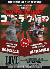 Black Godzilla vs Ultraman Retro Poster T-Shirt S-2XL